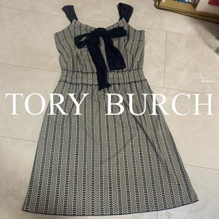トリーバーチ(Tory Burch)のトリーバーチの膝丈のワンピース  ネイビー ロゴマーク入り(ひざ丈ワンピース)