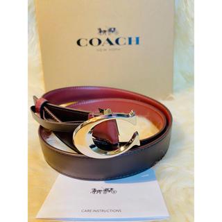 コーチ(COACH)の【COACH】コーチ人気レザーベルト ブラウンxワインレッド新品 正規品(ベルト)