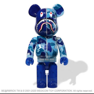 アベイシングエイプ(A BATHING APE)のBE@RBRICKCLEAR ABC CAMO SHARK 1000% BLUE(フィギュア)