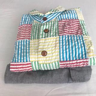 ムージョンジョン(mou jon jon)のmou jon jon 長袖シャツ & グレーワークパンツ(カーディガン)