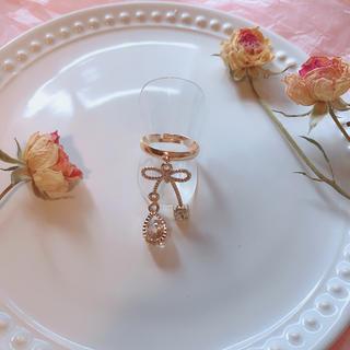 ゴールドリボンクリスタルリング♡指輪 量産型 メンヘラ地雷 ジャスティン ロリ(リング(指輪))