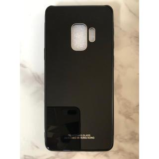 ギャラクシー(Galaxy)のシンプル&可愛い♪耐衝撃背面9Hガラスケース GalaxyS9 ブラック 黒(Androidケース)