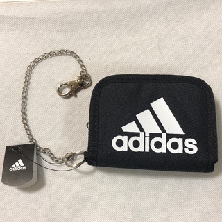 アディダス(adidas)の新品 アディダス 財布 チェーン フック付 adidas ウォレット 黒×白文字(折り財布)