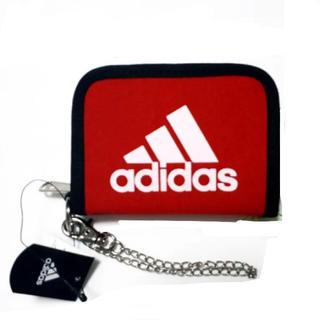 アディダス(adidas)の新品 アディダス 財布 チェーン フック付 adidas ウォレット 赤 レッド(折り財布)