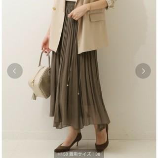 ノーブル(Noble)のNOBLE シースルーギャザースカート 38 M カーキ(ロングスカート)