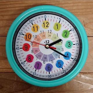 カラフル 知育 エメラルドグリーン枠 掛け時計(知育玩具)