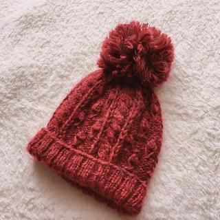 OSADA ニット帽 レッド ボルドー(ニット帽/ビーニー)