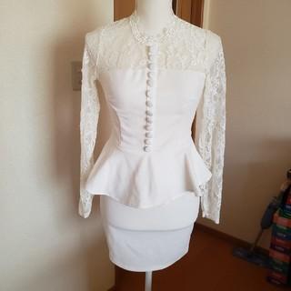 デイジーストア(dazzy store)のお値下げ ホワイト ペプラム ワンピ ドレス キャバ(ミニドレス)