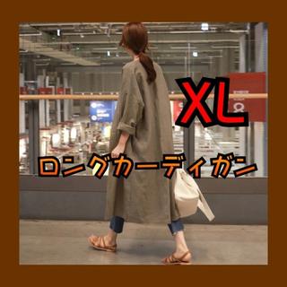 ロングカーディガン シャツ 薄手 秋 ブラウン 茶色 韓国 アースカラー XL(カーディガン)