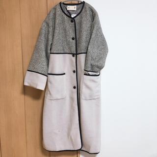 ハコ(haco!)の【haco】ヘリンボーン×ボア異素材コート(ロングコート)