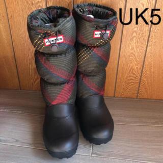 ハンター(HUNTER)の美品 HUNTER☆UK5 スノー キルトブーツ チェック 防寒 ハンター(レインブーツ/長靴)