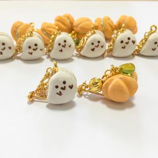 《No.079》ハロウィンマカロン★おばけとかぼちゃのピアス/イヤリング(ピアス)