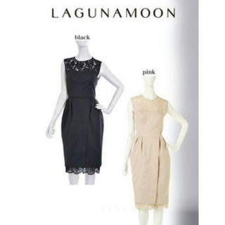 ラグナムーン(LagunaMoon)のラグナ ドレス④試着のみ スカラップレースコクーンワンピース 黒(ミディアムドレス)