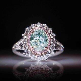 凄いキラキラで綺麗なグリーンダイヤモンドリング レディースアクセサリーダイヤ指輪(リング(指輪))