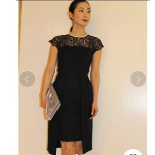ラグナムーン(LagunaMoon)のラグナ ドレス⑦gapレングススカラップワンピース ネイビー ドレス(ミディアムドレス)