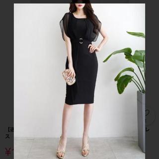 アンディ(Andy)のtiara  韓国 高級 ドレス シンプル 結婚式 キャバ ワンピース 美品 黒(ひざ丈ワンピース)