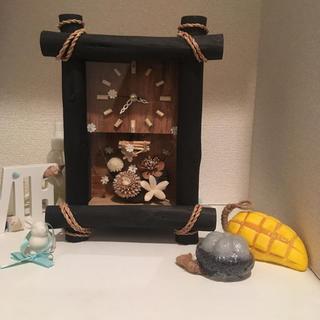 フランフラン(Francfranc)の置き時計 ハワイ ナチュラル シンプル 木 植物 時計 ハンドメイド インテリア(置時計)