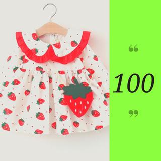 ワンピース スカート 長袖 いちご 女の子 秋 春フリフリ 韓国 100(ワンピース)