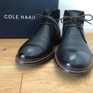 コールハーン(Cole Haan)の値下【美品】Cole Haanブーツ 7W シボ革&スエードコンビ(ブーツ)