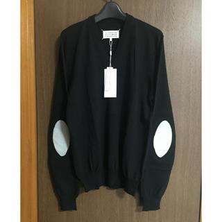 マルタンマルジェラ(Maison Martin Margiela)の黒M新品 メゾン マルジェラ エルボーパッチ V ニット セーター ブラック(スウェット)