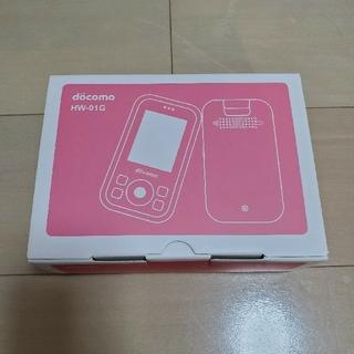 エヌティティドコモ(NTTdocomo)のDOCOMO子供携帯 HW-01G ピンク ミニーちゃんカバー付き(携帯電話本体)