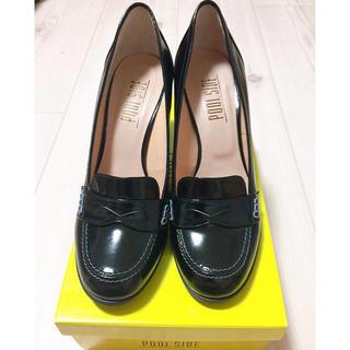 プールサイド(POOL SIDE)の黒 本革 ローファー パンプス(ローファー/革靴)
