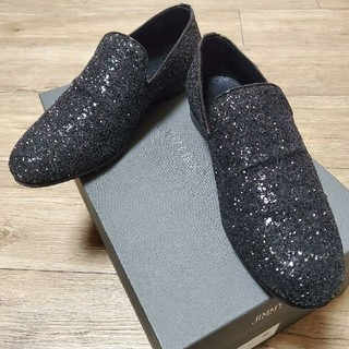 JIMMY CHOO - 美品★JIMMY CHOO Coarse Glitter Fabri Black