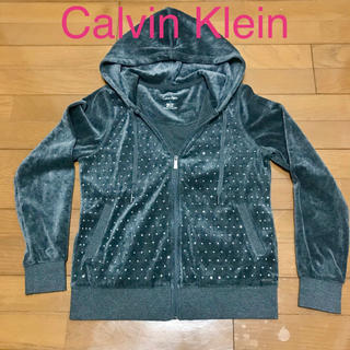 カルバンクライン(Calvin Klein)の大人気★新品同様★Calvin Klein ベロアラインストーン付パーカー(パーカー)