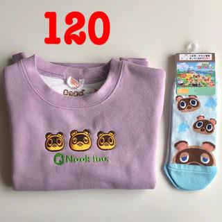 シマムラ(しまむら)のどうぶつの森 たぬきち トレーナー 120 & キッズ 靴下 しまむら あつ森(Tシャツ/カットソー)