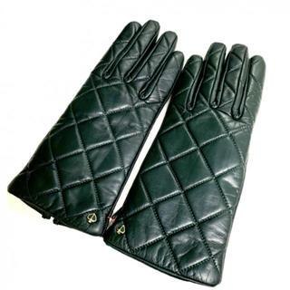 ケイトスペードニューヨーク(kate spade new york)の新品 キルティング 手袋 裏起毛 ブラック レザー 本革(手袋)