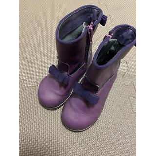 アナスイミニ(ANNA SUI mini)のアナスイミニ  リボン ブーツ 15cm パープル 靴(ブーツ)