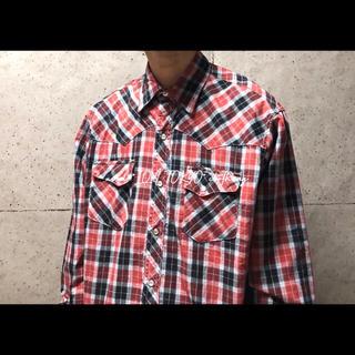 古着 L ラングラー wrangler 赤 タータンチェック ウエスタンシャツ(シャツ)