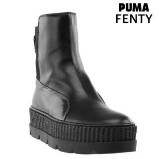 プーマ(PUMA)のプーマ ショート ブーツ 黒 新品 レザー フェンティ 厚底 ロック スリッポン(ブーツ)