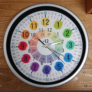 23cm カラフル 知育 シルバー枠 掛け時計(知育玩具)