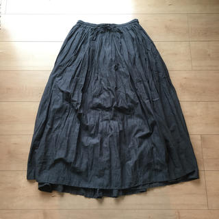 ソイル(SOIL)のsoil gather skirt charcoal grey(ロングスカート)