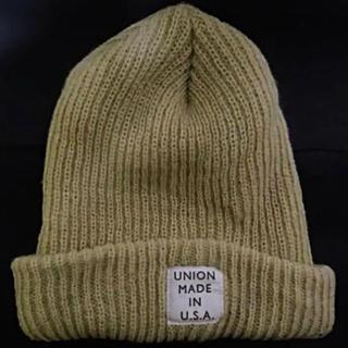 ロンハーマン(Ron Herman)のロンハーマンUNIONMADEINU.S.Aベージュロンゲージニット帽フリー新品(ニット帽/ビーニー)