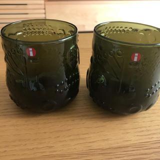 イッタラ(iittala)の新品 未使用 iittala  フルッタ タンブラー 2個 セット モスグリーン(グラス/カップ)