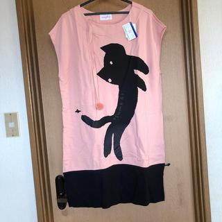 ツモリチサト(TSUMORI CHISATO)の新品ツモリチサト ボンボン付き猫のワンピース ピンク黒(ひざ丈ワンピース)