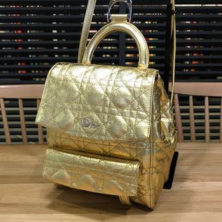 クリスチャンディオール(Christian Dior)の超美品 ディオール スターダスト バックパック リュックサック ゴールド 金(リュック/バックパック)