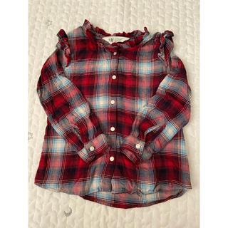 エイチアンドエム(H&M)のフリルチェックシャツ 110 チェックシャツ 新品未使用 H&M(ブラウス)