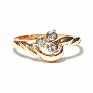 17号 三ツ星 スワロフスキークリスタル ピンクゴールドリング(リング(指輪))