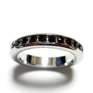 3号 フルエタニティ スワロフスキークリスタル ジェット シルバーリング(リング(指輪))