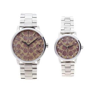 コーチ(COACH)のCOACH ペアウォッチ 腕時計 シグネチャー クォーツ ブラウン シルバー(腕時計(アナログ))