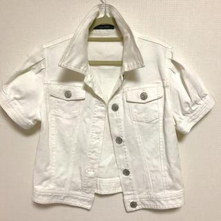 ピンキーアンドダイアン(Pinky&Dianne)の白デニムの丈短めジャケットです(Gジャン/デニムジャケット)