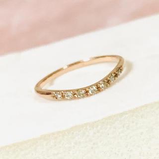 極美品✨K10 ピングゴールド ダイヤ0.07ct ピンキーリング✨3号(リング(指輪))