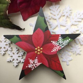 クリスマスオブジェ【星型】【クリスマス xmas】【ポインセチア】(置物)