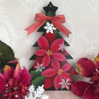 クリスマス ツリー オブジェ【ポインセチア】xmas 壁掛けタイプ(インテリア雑貨)