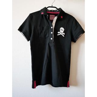 マークアンドロナ(MARK&LONA)の美品!MARK&LONA レディース ポロシャツ ブラック×ピンク S(ウエア)