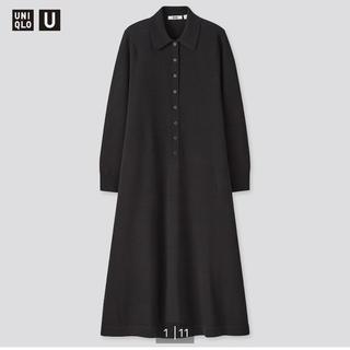 完売 ユニクロユーuniqlou メリノブレンドポロワンピース M 黒(ひざ丈ワンピース)