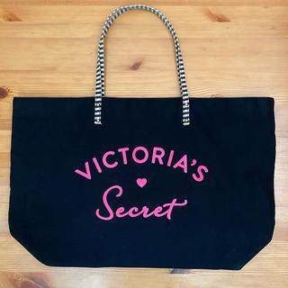 ヴィクトリアズシークレット(Victoria's Secret)のエコバッグ トートバッグ ヴィクトリアシークレット 黒 中古 2箇所汚れあり(トートバッグ)